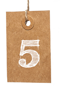 Card with Number 5