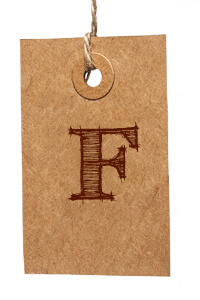 Card with Letter F
