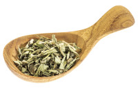 stevia dried leaves on wooden spoon