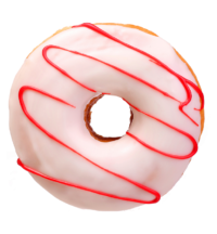 donut with white frosting and red swirl