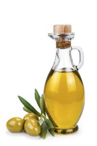 Olive oil bottle isolated on a white background.