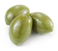 Green olives isolated on white