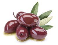 Purple olives in oil with leaves on a white background.
